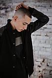 Бомбер чоловічий шкіра Весняний / Осінній 'Re-Balance' Intruder чорний осіння куртка, фото 7