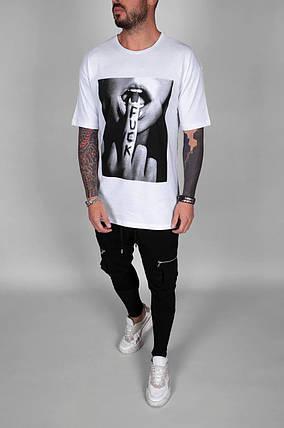 Чоловіча футболка oversize білого кольору з принтом, фото 2