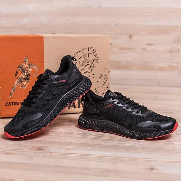 Чоловічі кросівки літні BS чорні на червоній підошві