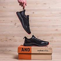Чоловічі кросівки літні BS чорні на червоній підошві, фото 3