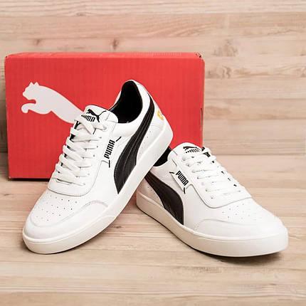 Чоловічі шкіряні кросівки Пума білі з чорним, фото 2