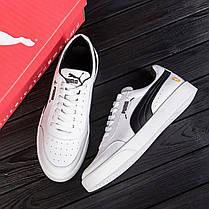 Чоловічі шкіряні кросівки Пума білі з чорним, фото 3