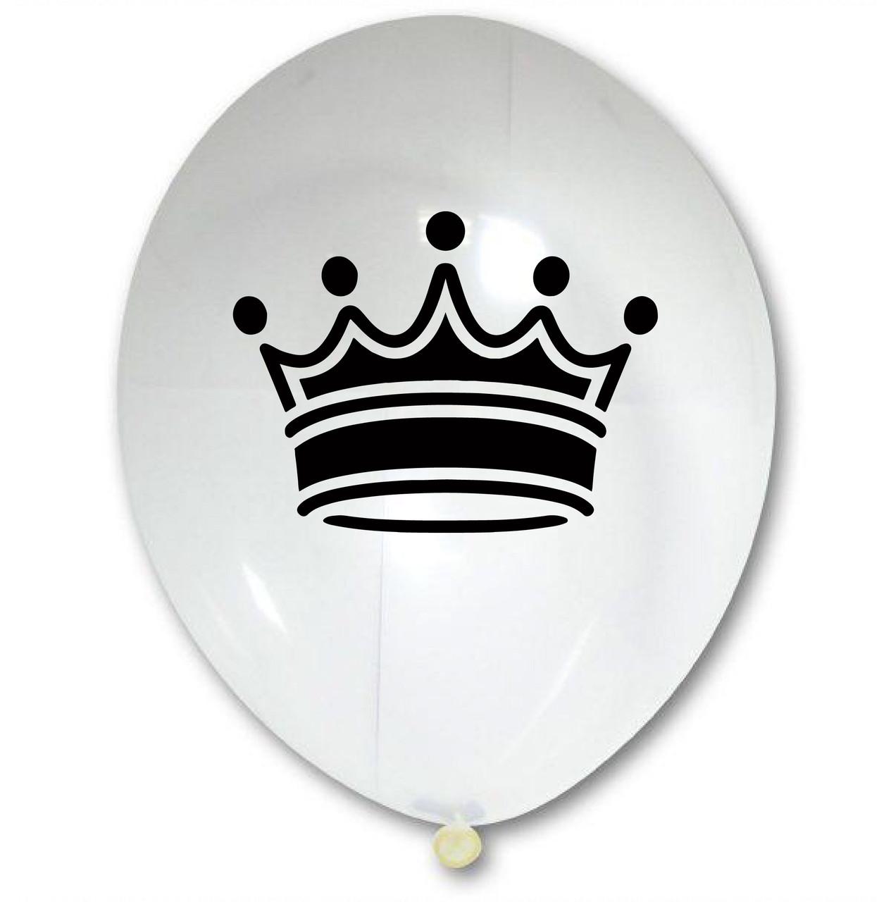 """Латексна кулька 12"""" прозора з малюнком """"Корона"""" (КИТАЙ)"""