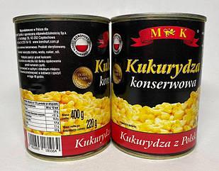 Кукурудза цукрова консервована (солодка) 400г M&K в ж/б, Польща