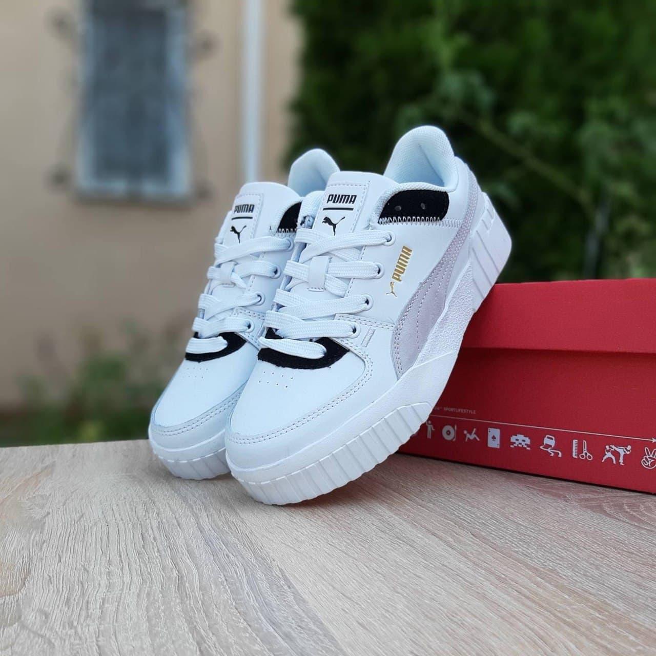 Жіночі кросівки Пума Cali білі з чорним