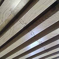 Реечный подвесной потолок, кубообразная рейка 50х50мм, шаг 50мм, цвет светлое дерево