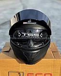 Шлем SCORPION модуляр закрытый с откидным подбородком+очки SCO-162 ЧЕРНЫЙ матовый, фото 8