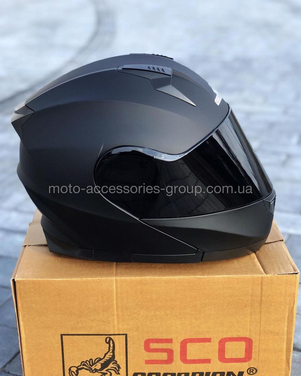 Шлем SCORPION модуляр закрытый с откидным подбородком+очки SCO-162 ЧЕРНЫЙ матовый