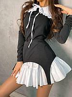Трикотажне плаття зі знімним білим комірцем і под'юбніком (р. S-M) 66mpl2223Е, фото 1