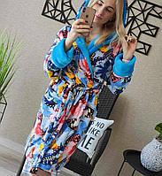 Домашній халат жіночий з капюшоном трендовий з красивими принтами (р. 42-46) 511911