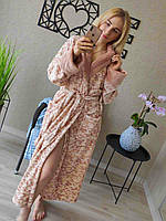 Довгий махровий халат під пояс з капюшоном жіночий у різних кольорах (р. 42-46) 511912
