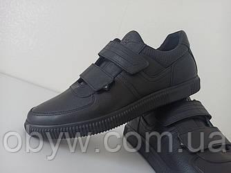 Чоловіча шкіряна весняна взуття без шнурків ( липучки)