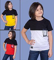 Детская футболка(МАЛЬЧИК), 8-10-12-14 лет, двухцветная .