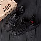 Чоловічі шкіряні кросівки Jordan чорні, фото 3