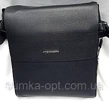 Мужская классическая барсетка через плечо 24*28 см, черная кожаный клапан