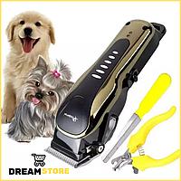 Машинка для стрижки животных Gemei GM 6063 набор с пилочкой и когтерезкой для стрижки котов собак