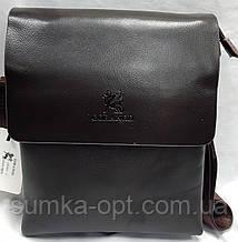 Мужская классическая барсетка через плечо 22*28 см, каштан кожаный клапан