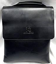 Мужская классическая барсетка через плечо 22*28 см, черная кожаный клапан