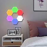 Модульна настінна шестигранна комбінована лампа 6шт.   Кольоровий настінний світильник з пультом, фото 2