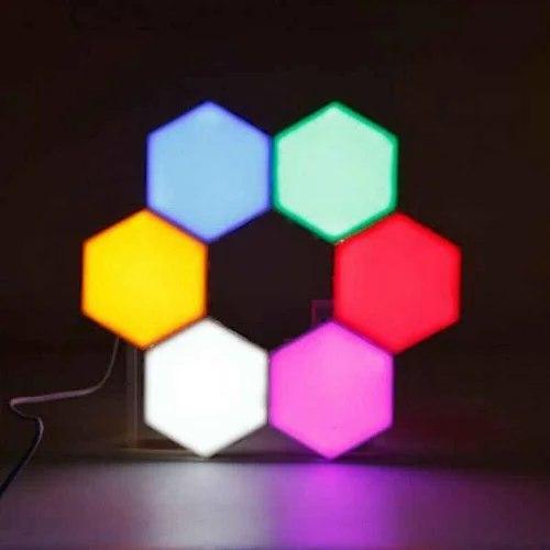 Модульная настенная шестигранная комбинированная лампа 6шт.   Цветной настенный светильник с пультом