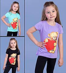 Детская футболка (девочка),  5-6-7-8 лет, медвежонок с сердечком  .