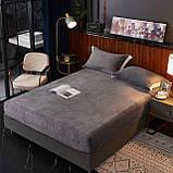 Бархатная простынь на резинке 150*180+25см Натяжная простыня на матрас или диван высокого качества, фото 2