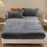 Бархатная простынь на резинке 150*180+25см Натяжная простыня на матрас или диван высокого качества, фото 4
