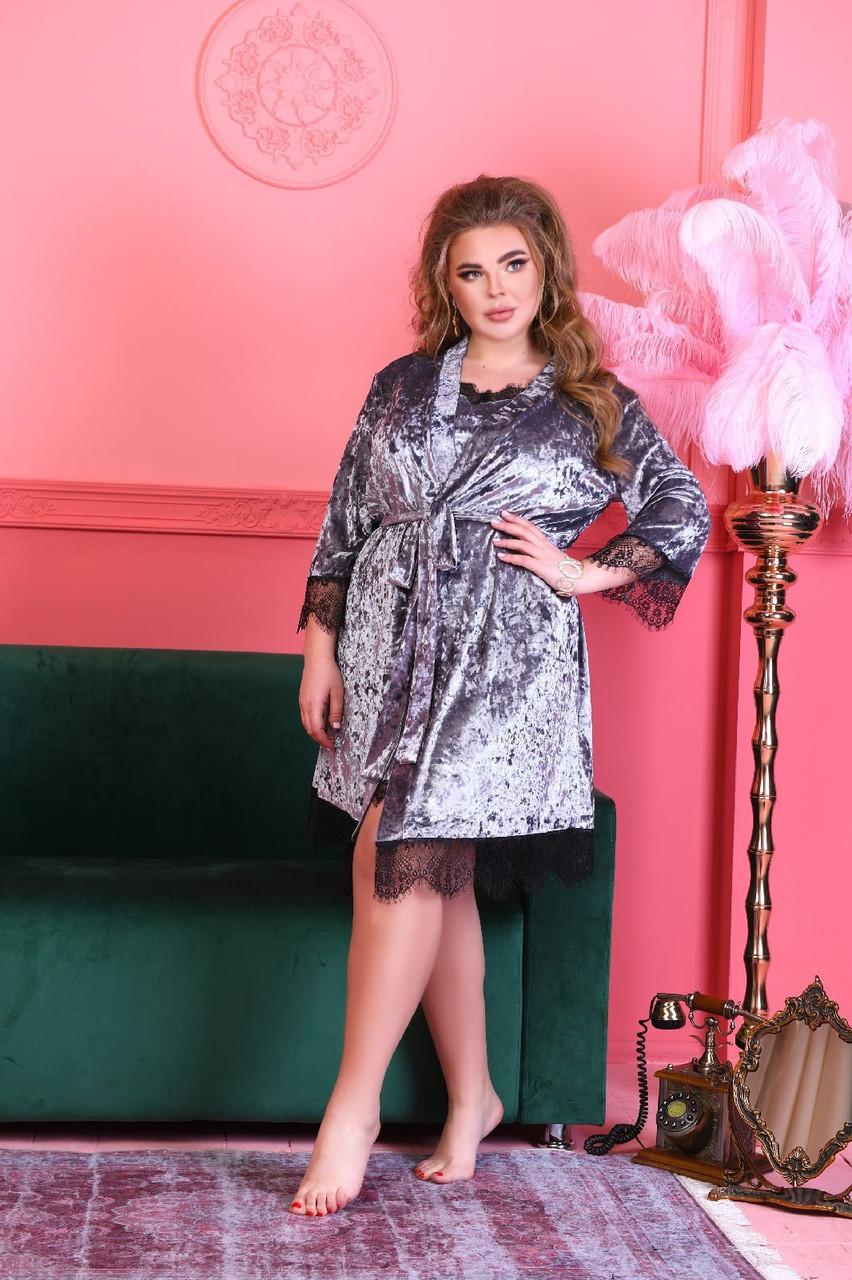 Жіноча красива піжама комплект домашний бархатний батал 50 52 54 56 розміри є кольори