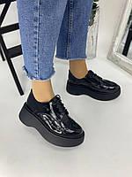 Туфли черные лаковые кожаные на шнурках и платформе, фото 1