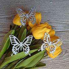 Бабочки из эко кожи. Серебро.