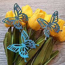 Бабочки из эко кожи. Голубая.