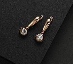 Серьги классические с подвесками камнями Элион сережки женские / подарок девушке / подарок на день рождения