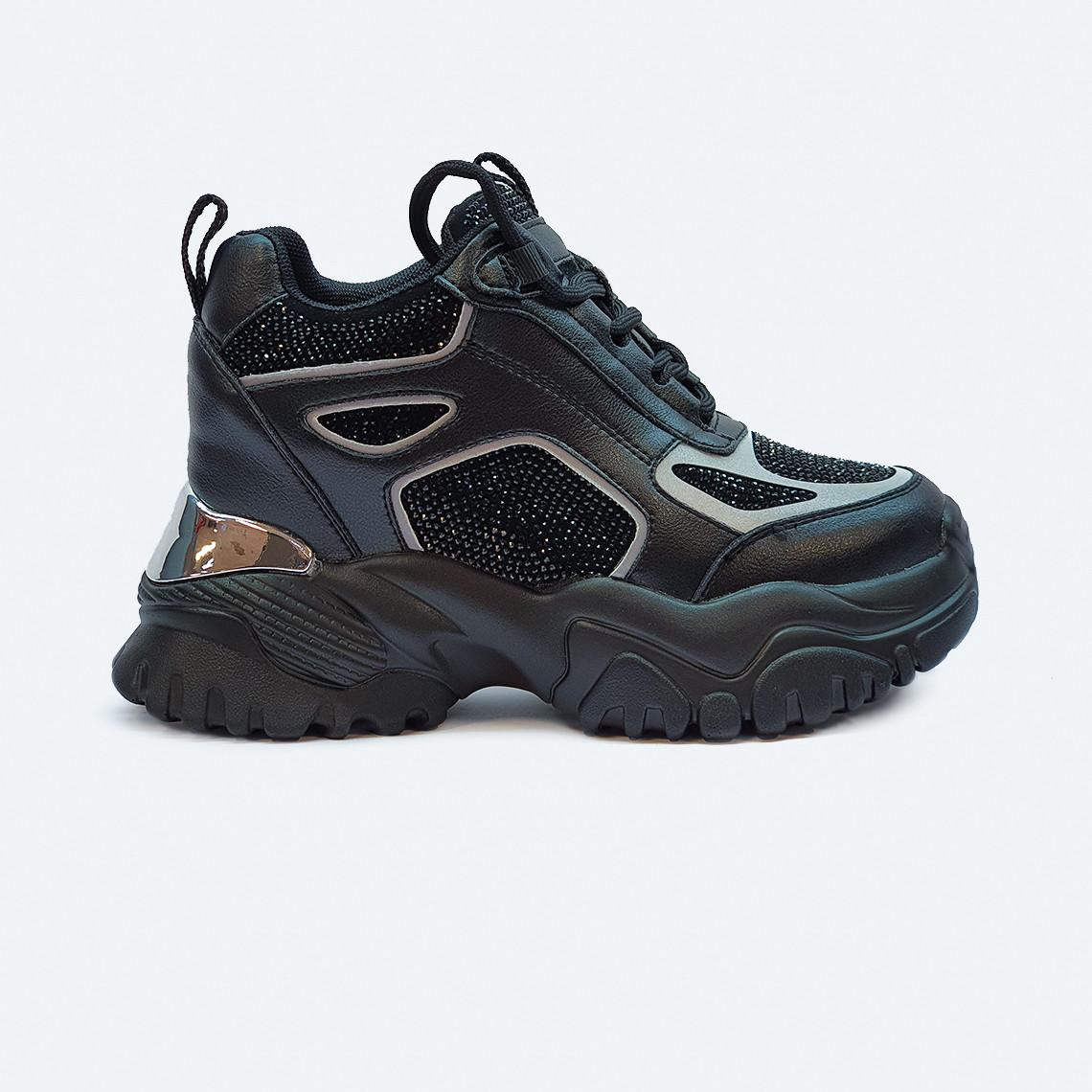 Черные женские кроссовки на платформе со стразами
