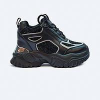 Черные женские кроссовки на платформе со стразами, фото 1