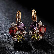 Серьги классические Разноцветный камень  / сережки женские / подарок девушке / подарок на день рождения