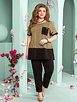 Прогулочный женский костюм шифоновая блузка и брюки больших размерах
