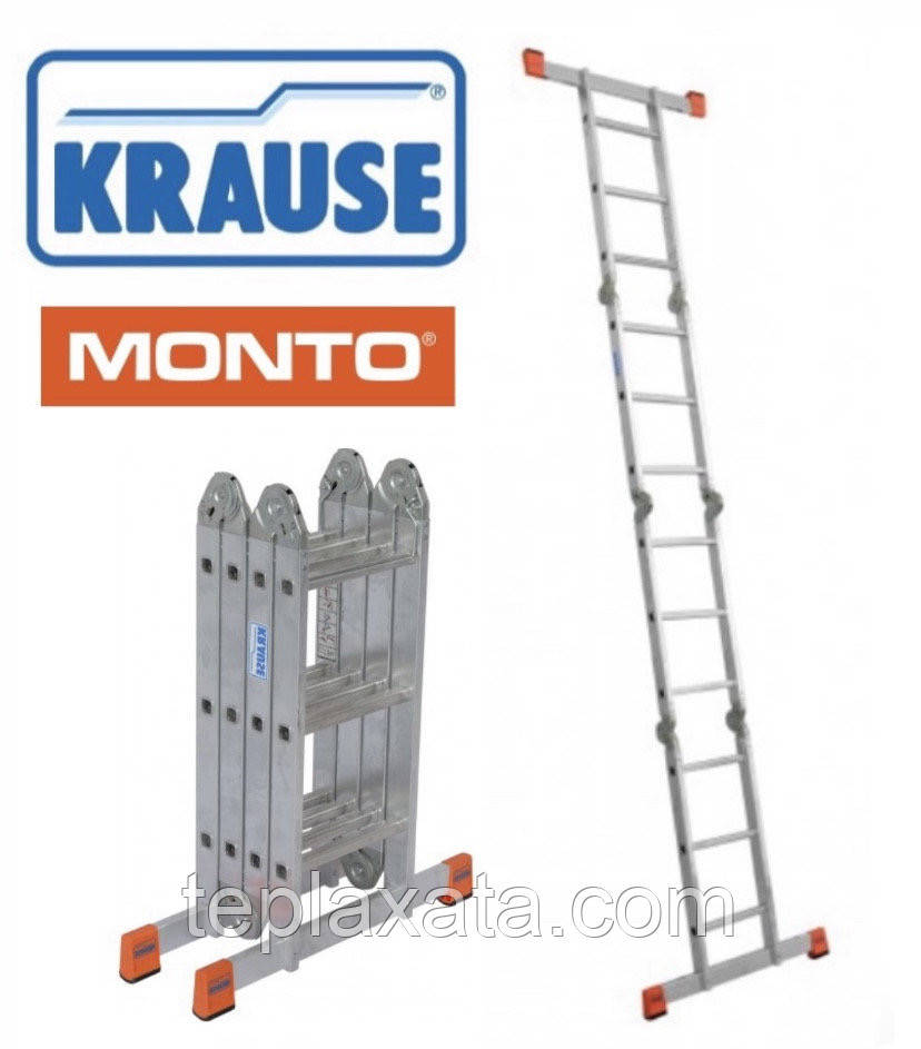 Шарнирная 4-секционная лестница KRAUSE Monto 4х3 ступени