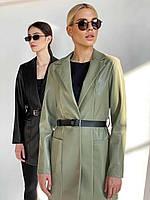 Піджак еко-шкіра оливка