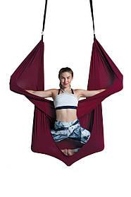 Гамак для воздушной йоги (аэройога) стрейчинга Fly-йоги вишневый