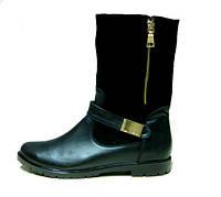Ботинки  Б-150 черные из натурального замша фурнитура золото