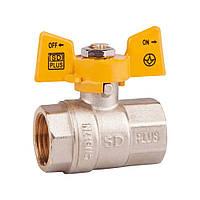 """Кран шаровой SD Plus 1/2"""" ВР для газа (бабочка) SD602NG15PN40"""