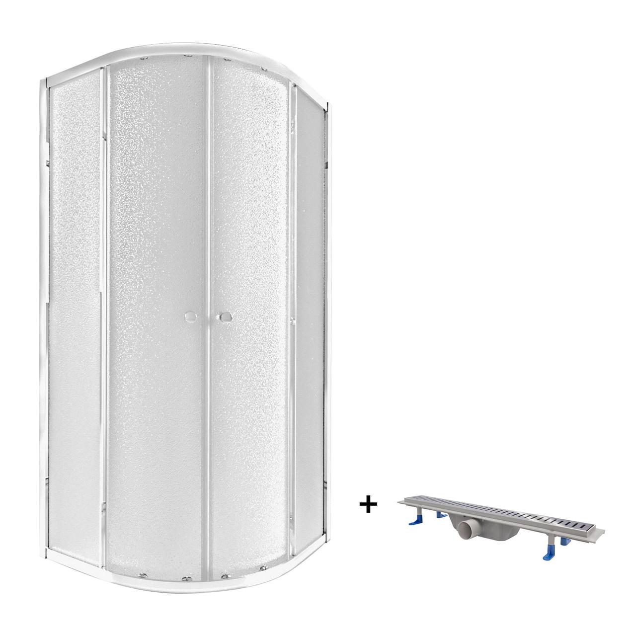 Набір Qtap душова кабіна Presto CRM1099AP5 Pear з лінійним трапом Dry FA304-600