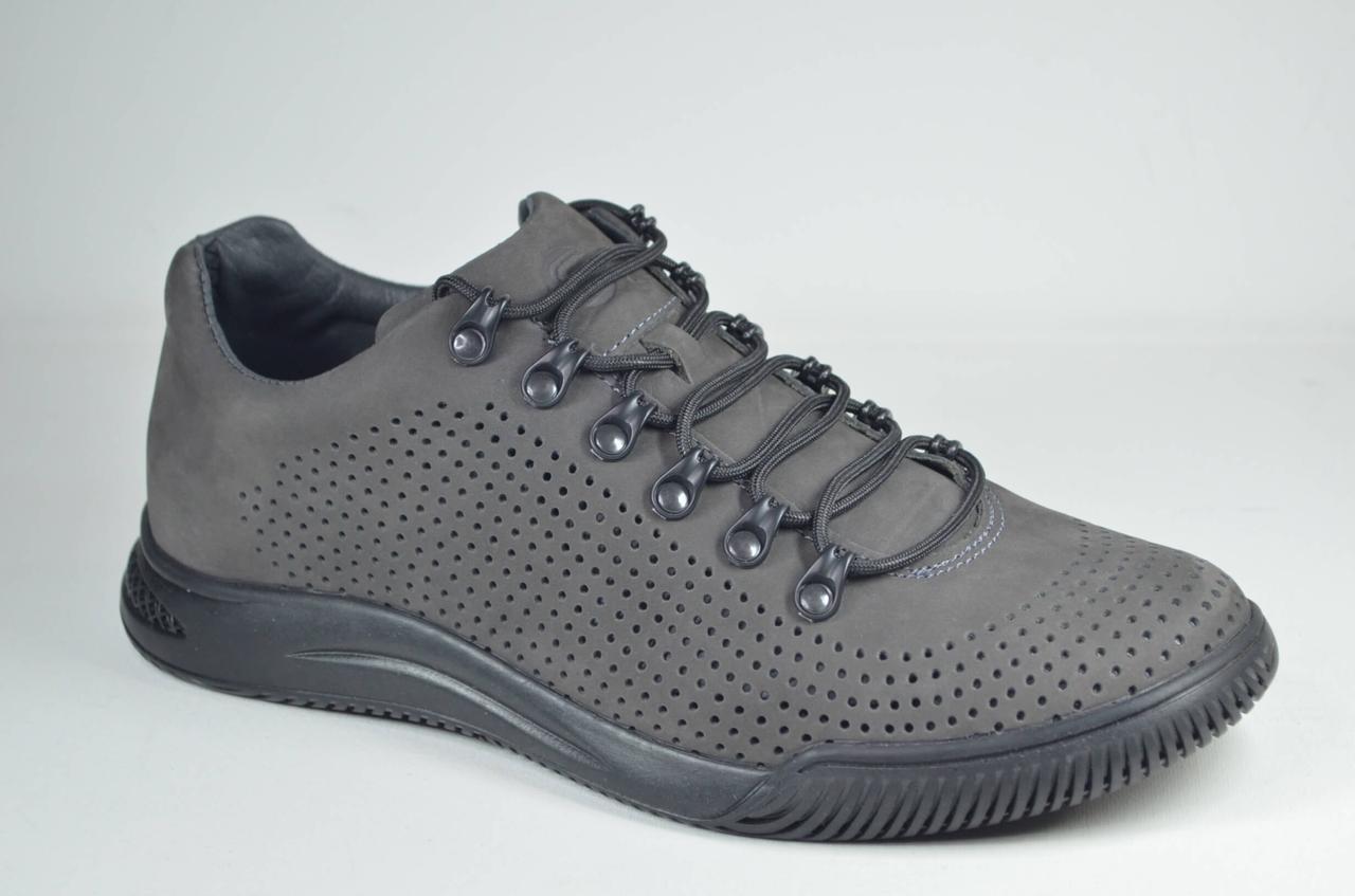 Мужские летние комфортные туфли нубуковые серые Samas 705 П-2