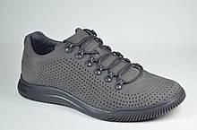 Чоловічі літні комфортні туфлі нубукові сірі Samas 705 П-2