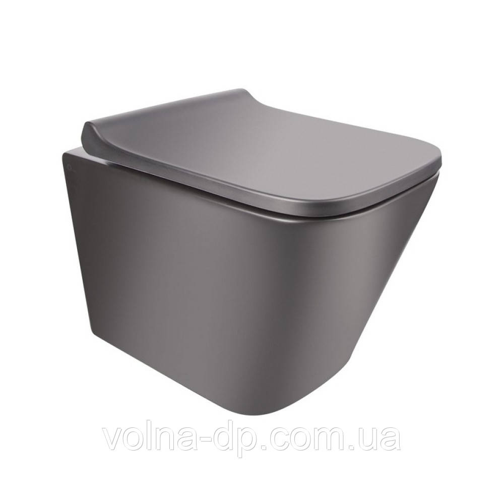 Унітаз підвісний Qtap Tern безободковый з сидінням Slim Soft-close QT1733052ERMB