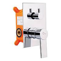 Змішувач прихованого монтажу для ванни Qtap Form 010-22 SQ CRM на три споживача