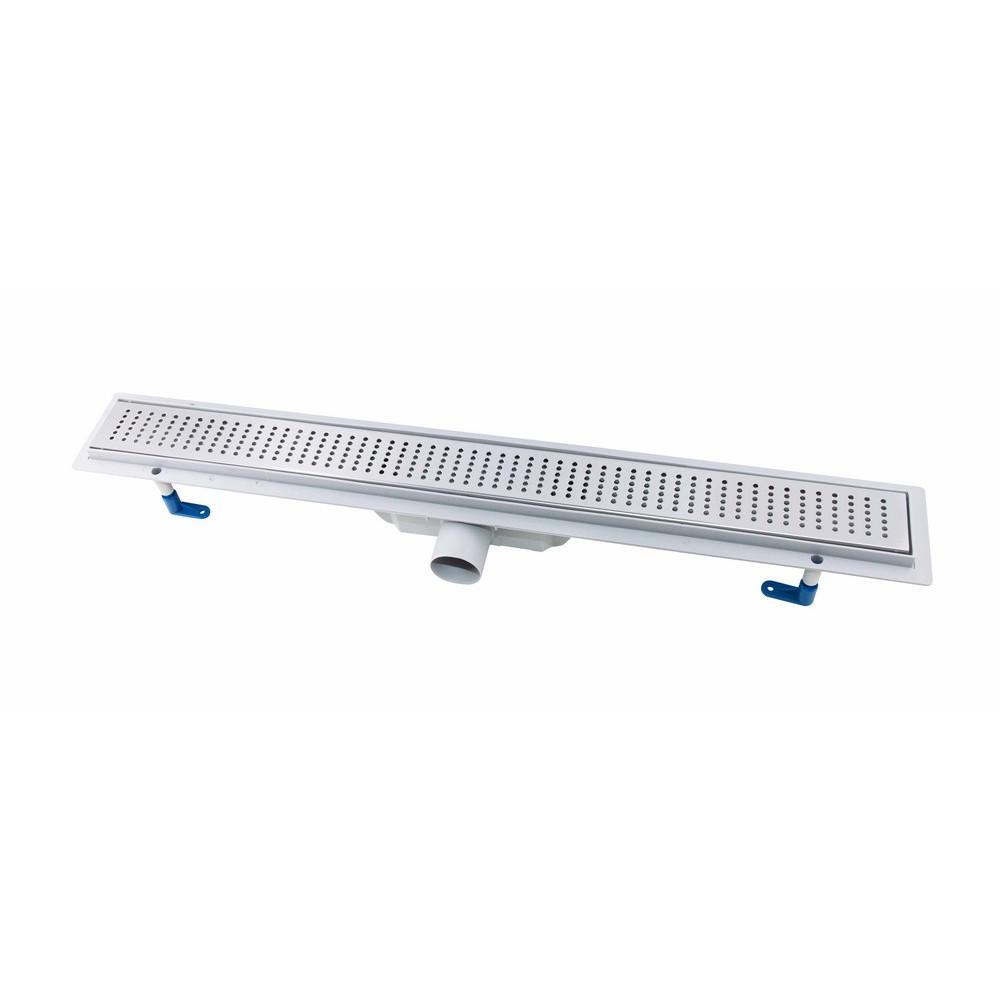 Трап лінійний Qtap Dry FB304-800 з нержавіючої сіткою 800х73