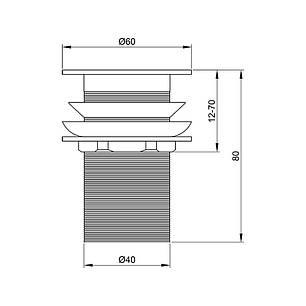 Донний клапан для раковини Lidz (CRM)-47 00 001 00, фото 2