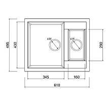 Кухонна мийка Lidz 615x500/200 BLA-03 (LIDZBLA03615500200), фото 2