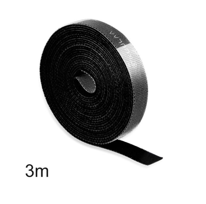 Органайзер кабеля (3 метра) прочная стяжка липучка хомут для проводов KUULAA (KL-BD-02) Черный